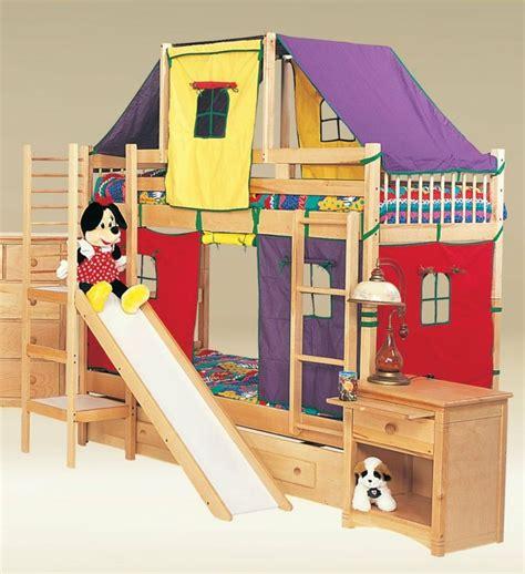 toboggan chambre lit cabane enfant en bois massif et toboggan assorti