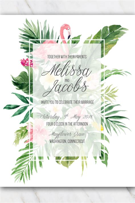 tropical flamingo wedding invitation template