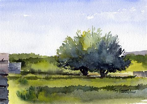 """""""fruit Trees, Early Spring""""  Watercolor Landscape"""