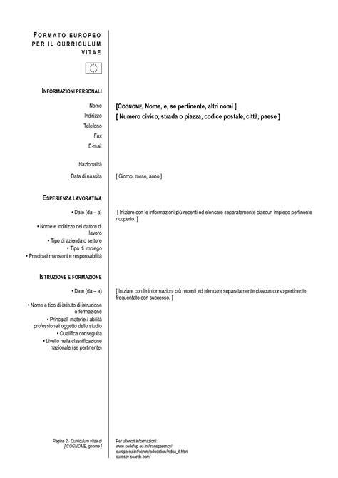 scaricare un curriculum vitae in formato pdf da compilare