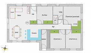 plan maison 4 chambres 100m2 With plan maison tage 4 chambres