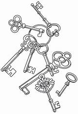 Key Coloring Steampunk Keys Embroidery Heart Skeleton Drawing Antique Urbanthreads Cascade Adult Machine Unique Patterns Urban Colouring Printable Tattoo Threads sketch template