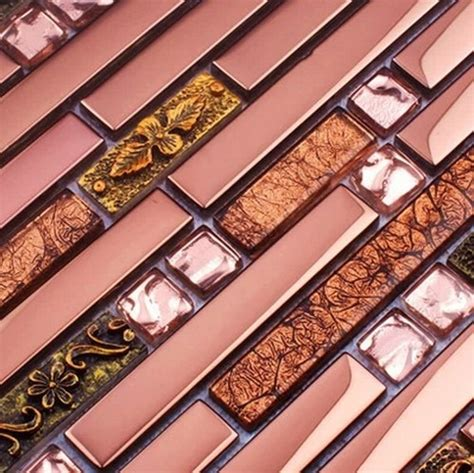 purple metal mosaic strip glass mixed stainless steel