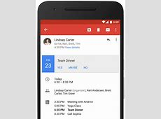 Gmail for Android shows your agenda alongside calendar invites