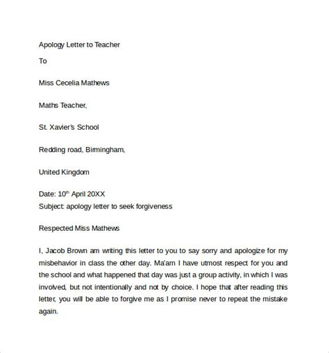 apology letters  teacher