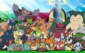 Ash with his Pokemon