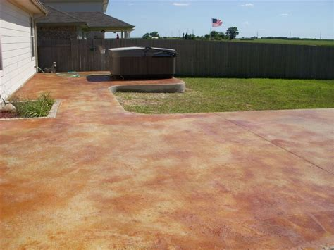 stained concrete patio colors landscaping gardening ideas