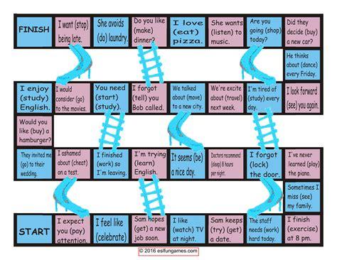 Gerunds-infinitives Chutes-ladders Game-esl Fun Games-fun