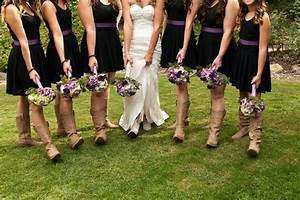 Bride and bridesmaid boot and bouquet pose wedding