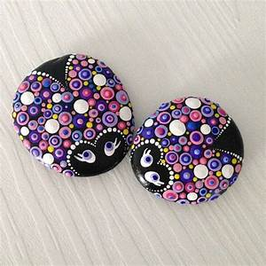 Set, Of, 2, Purplelicious, Ladybugs, Painted, Stone, Fairy, Garden