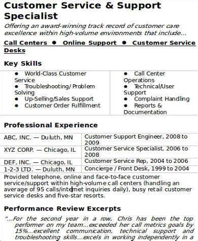 sample customer service resume examples  word