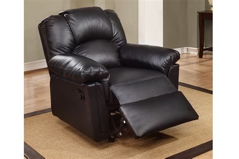 milford black bonded leather rocker recliner