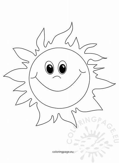 Sun Smiling Cartoon Happy Coloring Summer