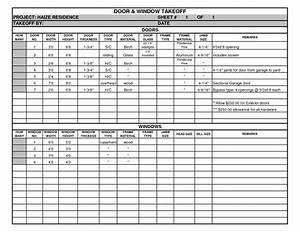 door schedule template excel schedule template free With take off sheet template