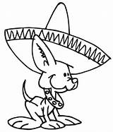 Coloring Mexican Dog Hat Wearing Pages Dogs Fiesta Sombrero Wiener Chihuahua Printable Hats Tin Mexico Colouring Cartoon Puppy Mayo Dance sketch template