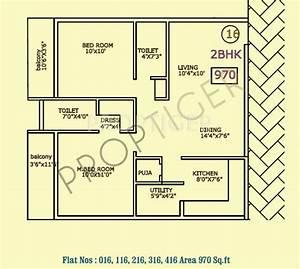 970 Sq Ft 2 Bhk Floor Plan Image
