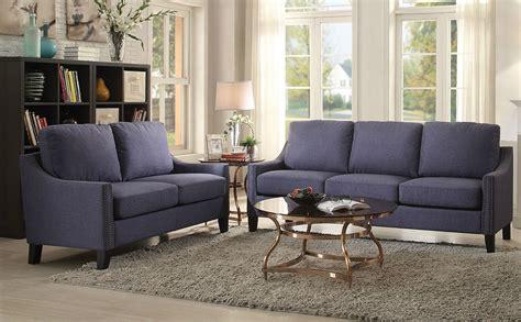 nailhead trim sofa set zapata blue linen nailhead trim sofa loveseat set