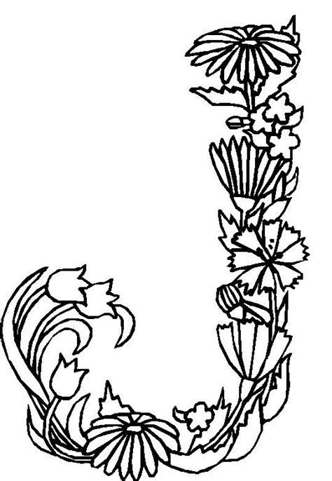 adult flower coloring pages letter  flower coloring pages alphabet coloring pages coloring