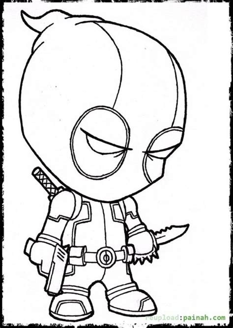 deadpool cartoon coloring page colowing pinterest