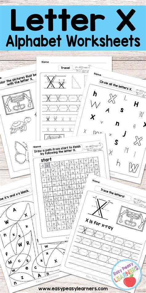 letter x worksheets alphabet series easy peasy learners