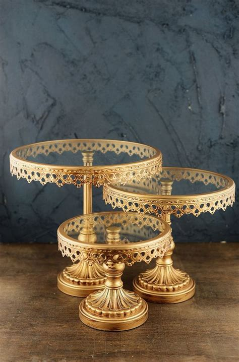 gold metal glass cake stands gold cake stand