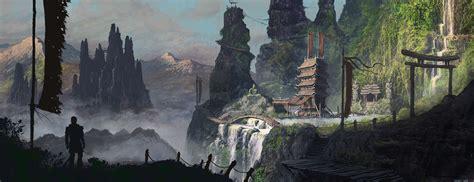art mountain temple asia man bridges hd wallpaper