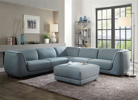 Adina Sectional Sofa 53725 In Light Blue Fabric By Acme W