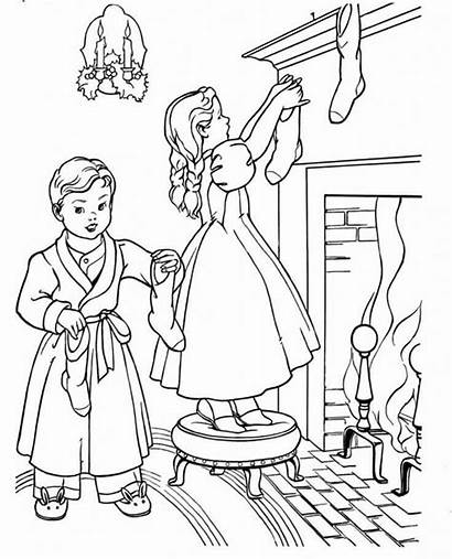 Christmas Coloring Stockings Fireplace Pages Near Jls