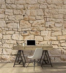 Papier Peint Imitation Pierre Naturelle : tapisserie trompe l 39 oeil pierre tapisseries designs ~ Nature-et-papiers.com Idées de Décoration