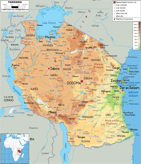 physical map  tanzania ezilon maps