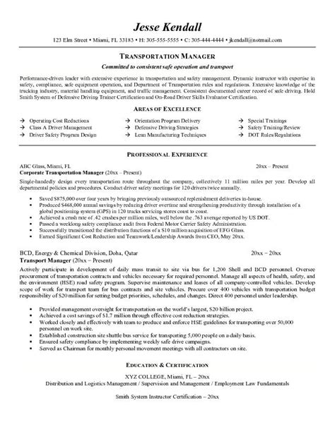 exle transportation manager resume free sle