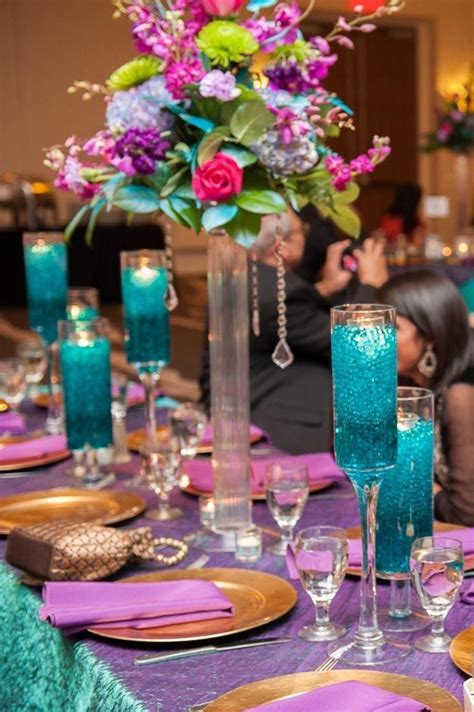 pictures of decorated tables in peacock and leopard