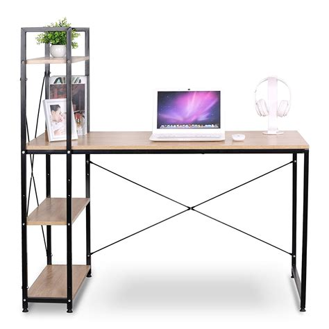 portable corner computer desk for small spaces with wood 4