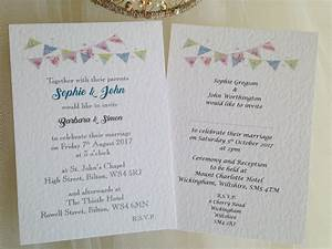 summer bunting postcard wedding invitations With wedding invitation printing services uk