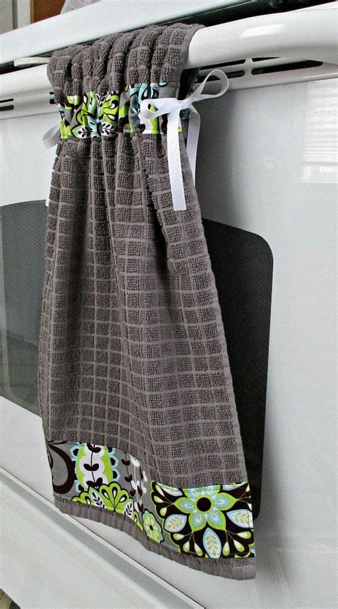 Kitchen Towels With Ties by Tie Top Towels Gray Kitchen Cotton Towel Accented With
