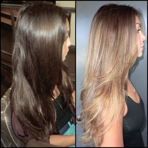 Brown To Hair Before And After Photos by Before And After Brown To Caramel High Lights Hair