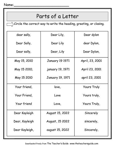parts   friendly letter worksheet  grade