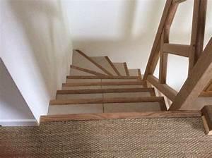 rampe et nez de marche en chene carrelage et jonc de mer With carrelage escalier