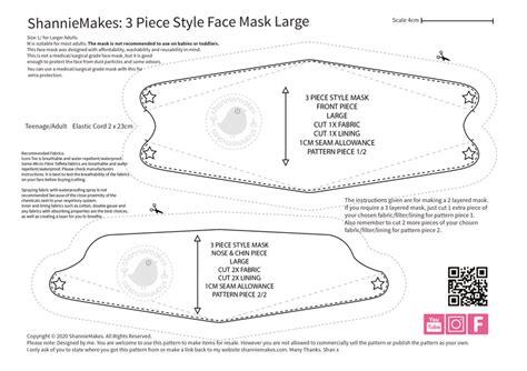 piece style face mask pattern