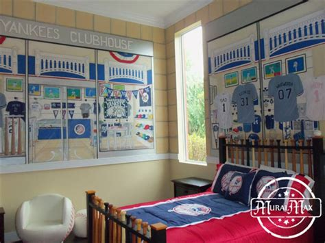 yankee bedroom decorating ideas pin sports mural decorating a boy bedroom can be