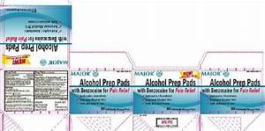 alcohol prep pads with benzocaine for pain relief