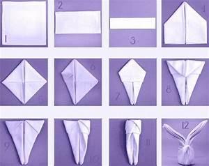 Pliage Serviette Lapin Simple : 16 best pliage pour serviette images on pinterest napkin folding napkins and how to fold napkins ~ Melissatoandfro.com Idées de Décoration