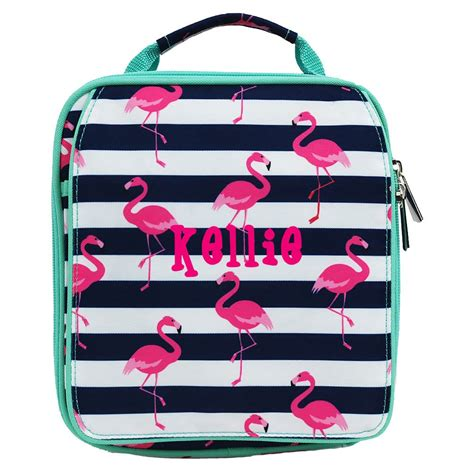personalized womens flamingo insulated lunch bag monogrammed girls soft side lunch box teen
