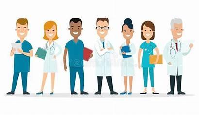 Medical Team Doctors Nurses Female Male Cartoon