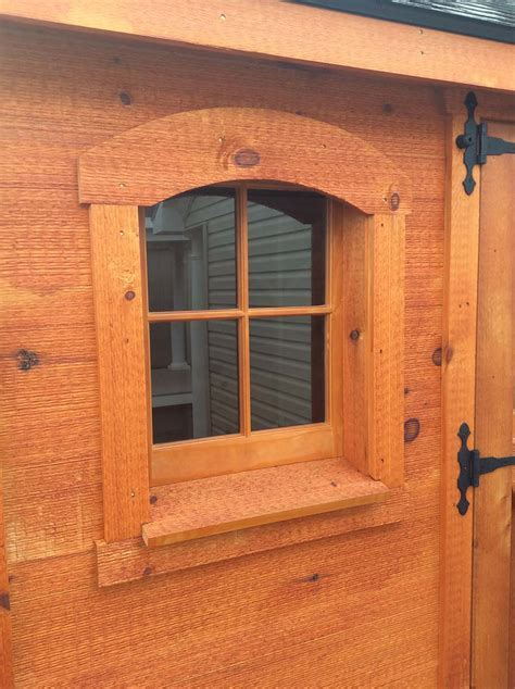pine sash with arch window trim   Amish Mike  Amish Sheds