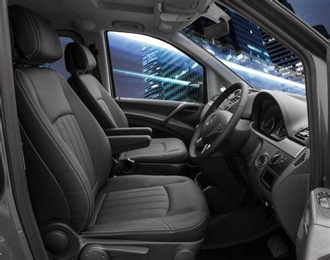 Mercedes Vito Black Leather Seats With White Stitching Trim Technik