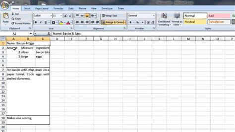 create  recipe template  word excel computer