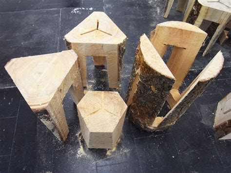 Chainsaw Robot Impresses With Its Carved Stools And Side Table