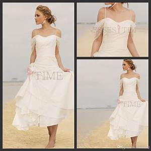 Discount short casual beach wedding dresses 2014 fall for Short white beach wedding dresses
