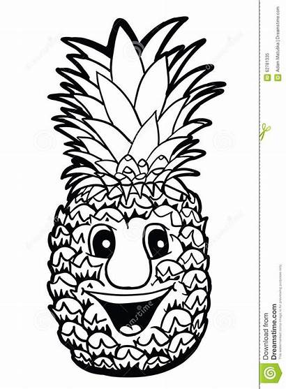 Pineapple Smile Coloring Pinnacle Outline Cartoon Clipart